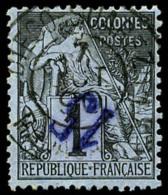 N°1a, 15 Sur 1 C. Noir Sur Azuré, Surcharge Renversée, Oblitéré, TB