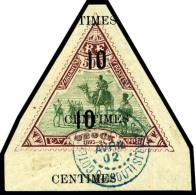 N°36b, 10 C. Sur 50 F. Lilas-brun Et Vert, Double Surcharge, Bas De Feuille, Oblitéré, Superbe