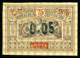 N°34, 0,05 Sur 75 C. Violet-brun Et Rouge-orange, Collé Sur Un Petit Carton, TB