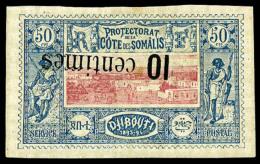 N°29a, 10 Centimes Sur 50 C. Bleu Et Rose, Surcharge Renversée, TB