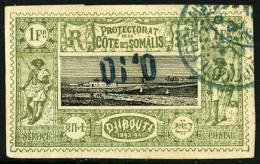 N°24a, 0,10 Sur 1 F. Vert-olive Et Noir, Surcharge Renversée, Oblitéré, TB