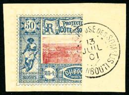 N°15a(A), Moitié De 50 C. Bleu Et Rose, Oblitéré Sur Petit Fragment,  TB