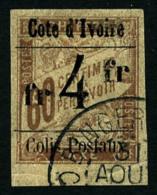Colis Postaux N°11a, 4 F. Sur 60 C. Brun Sur Chamois, Surcharge Type III, Oblitéré, Petit Bas De Feuil