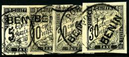 Taxe N°1/4, Les 4 Valeurs Oblitérées, TB