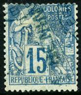 N°6Aa, 15 C. Bleu, Surcharge Bleue Renversée, Oblitéré, TB