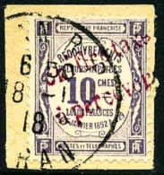 Taxe N°1a, 10 C. Violet, Surcharge Rouge, Oblitéré Sur Petit Fragment, TB