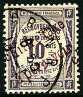 Taxe N°1, 10 C. Violet, Surcharge Carmin, Oblitéré, TB