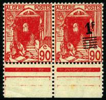 N°158Ab, (1 F. Sur) 90 C. Rouge Tenant Au N°158A*, Bas De Feuille, Superbe