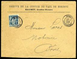 """France N°101, 15 C. Bleu, Oblitéré Càd """"MONDOVI/ALGER"""" Du 6 Juillet 1893 Sur Enveloppe Pour B&o"""
