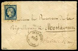 France N°60B, 25 C. Bleu, 2ème état, Oblitéré GC Sur Enveloppe Avec Càd Convoyeur