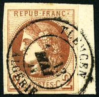 France N°40B, 2 C. Brun-rouge, Report 2, Oblitéré Càd De Tlemcen Sur Petit Fragment, TB
