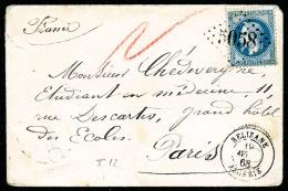 France N°29A, 20 C. Bleu, Type I, Oblitéré GC 5058 Sur Enveloppe Avec Càd De Relizane Du 19 Avr
