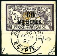N°59, 60 M. Sur 2 F. Violet Et Jaune, Oblitéré Sur Petit Fragment, TB