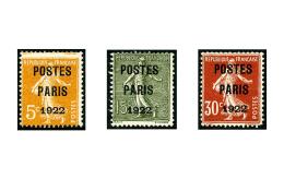 N°30/32, Postes Paris 1922, Les 3 Valeurs, B/TB