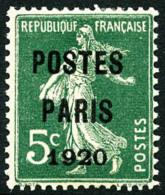 N°24, 5 C. Vert, Postes Paris 1920, TB