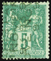 N°15, 5 C. Vert, Double Surcharge 5 Lignes Verticales, TB