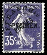 Préoblitéré N°62-CI2, 35 C. Violet, Surchargé Spécimen, TB