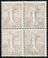 N°133, 30 C. Lilas, Bloc De 4, Gomme Lustrée Sinon TB