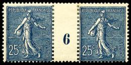 N°132a, 25 C. Bleu Foncé, Paire Millésime 6, TB