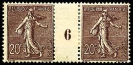 N°131a, 20 C. Brun-lilas Foncé, Paire Millésime 6, TB