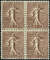 N°131, 20 C. Brun-lilas, Très Bon Centrage, Bloc De 4, Superbe