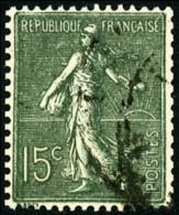 N°130f, 15 C. Vert-gris, Type VI De Roulette, Oblitéré, TB
