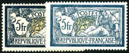 """N°123, 5 F. """" Bleu Foncé Et Chamois"""" Et N°123a, 5 F. Bleu Et Olive, Les 2 Valeurs, TB"""