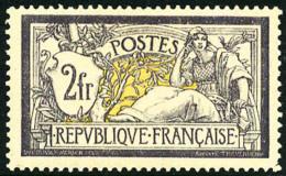 N°122, 2 F. Violet Et Jaune, Dent D'angle Se Détachant Sinon TB