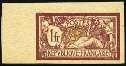 N°121f, 1 F. Lie-de-vin Et Olive, Papier GC, Non-dentelé, Coin De Feuille, Superbe