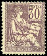 N°115, 30 C. Violet, Chiffres Légèrement Déplacés, TB