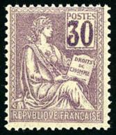 N°115, 30 C. Violet, Belle Variété De Surencrage Des Chiffres, Superbe