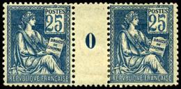 N°114, 25 C. Bleu, Paire Millésime 0, Un Timbre *, TB (cote Des Timbres)