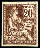 N°113e, 20 C. Brun-lilas, Non-dentelé, Superbe (cote Sans Gomme)