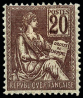 N°113b, 20 C. Brun-lilas, Chiffres Doubles, TB (rare)