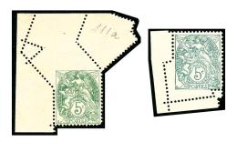 N°111, 5 C. Vert-jaune, 5 C. Vert, Piquage Oblique Par Pliage, TB (Maury 111f, 111Af) (cote Maury)