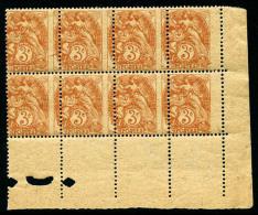 N°109e, 3 C. Orange, Papier GC, Piquage à Cheval, Bloc De 8 Coin De Feuille, Superbe (cote Maury)