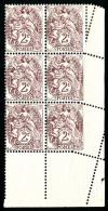 N°108, 2 C. Brun-lilas, Bloc De 6 Coin De Feuille Dont 3 Exemplaires Avec Piquage Oblique Par Pliage, 2 Timbres *, S