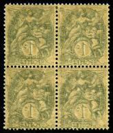 N°107a, 1 C. Ardoise, Impression Recto-verso, Bloc De 4, Superbe (Maury 107A I D) (cote Maury)