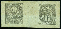 N°107, 1 C. Gris, épreuve Tête-bêche Sur Papier Gris-vert, TB