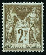 N°105, 2 F. Bistre Sur Azuré, Bon Centrage, TB