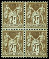 N°105, 2 F. Bistre Sur Azuré, Bloc De 4, Deux Timbres *, TB