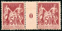 N°104, 50 C. Rose, Paire Millésime 0, TB