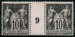 N°103, 10 C. Noir Sur Lilas, Paire Millésime 9, Superbe