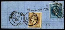 N°29B, 20 C. Bleu, Type II, Oblitéré GC 2429 Sur Fragment Avec Càd Type 17 De Montauban Du 19 M