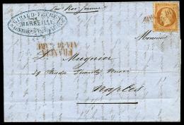 N°23, 40 C. Orange, Oblitéré FRANCIA/VIA DI MARE En Rouge Sur LSC Datée Du 15 Janvier 1867 Pour