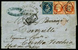 """N°23 (x2), 22, Oblitérés GC 532 Sur LAC Avec Càd De Bordeaux Du 2 Mai 1863 Et La Griffe """"CIVITA"""