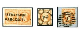 N°23, 40 C. Orange, Deux Exemplaires Et N°16, Avec Différentes Oblitérations Espagnoles, TB