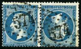 N°22b, 20 C. Bleu, Paire Horizontale Tête-bêche, Oblitérée GC 574, TB