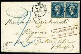 N°22, 20 C. Bleu (x2), Oblitérés GC 2502 Sur Petite Enveloppe Avec Càd Type 15 De Montpellier D