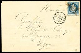 """N°22, 20 C. Bleu, Oblitéré Etoile En Rouge Sur LSC Avec Càd De """"PARIS/(60)"""" Du 11 Septembre 186"""